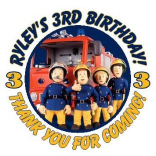 Personalised Fireman Sam Party Stickers
